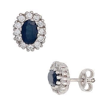 Safir Ohrstecker 925 Sterling Silber rhodiniert 24 Zirkonia 2 Safire blau Ohrringe
