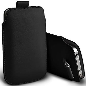 ONX3 (Black) Premium Slip In Pull Tab Sleeve Faux Leather Pouch Case Cover For Nokia 3.1 [XXL]