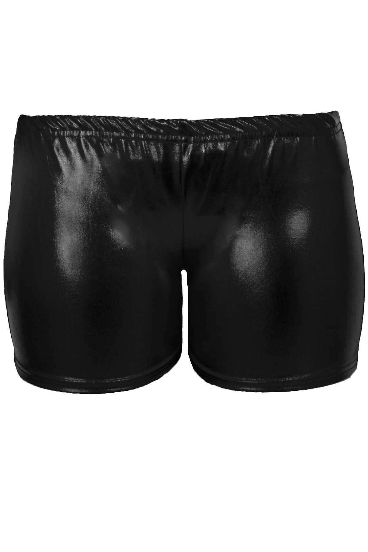 Mädchen Metallic Wet Look Turnen Tanz Stretch-Party für Kinder Hot Pants Shorts