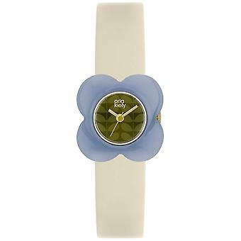 Orla Kiely Womens Poppyblue fall grädde läderrem OK2169 Watch
