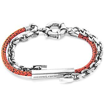Anchor and Crew Belfast Silver and Rope Bracelet - Red Noir