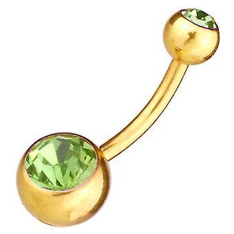Bauch-Bar Banane Bauchnabel Piercing Gold plattiert, Körperschmuck, grünen Steinen