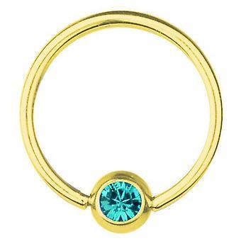 BCR guldpläterade Titan Piercing 0,8 mm, SWAROVSKI ELEMENTS Aquamarine | 6-12mm