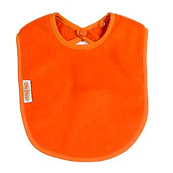 Silly Billyz Plain Large Baby Fleece Feeding Bib with Snap Button Closure in Orange