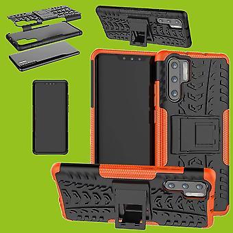 Für Huawei P30 Pro Hybrid Case 2teilig Outdoor Orange Tasche Hülle Cover Schutz