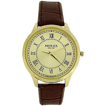 Reflex Gents Analogue Goldtone Dial & Brown PU Buckle Strap Smart Watch REF0022