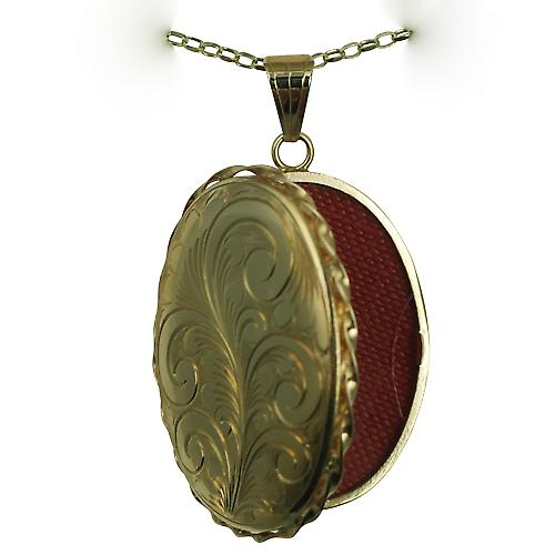 9ct Gold 37x28mm oval hand engraved twisted wire edge Locket with a belcher Chain 16 inches Only Suitable for Children