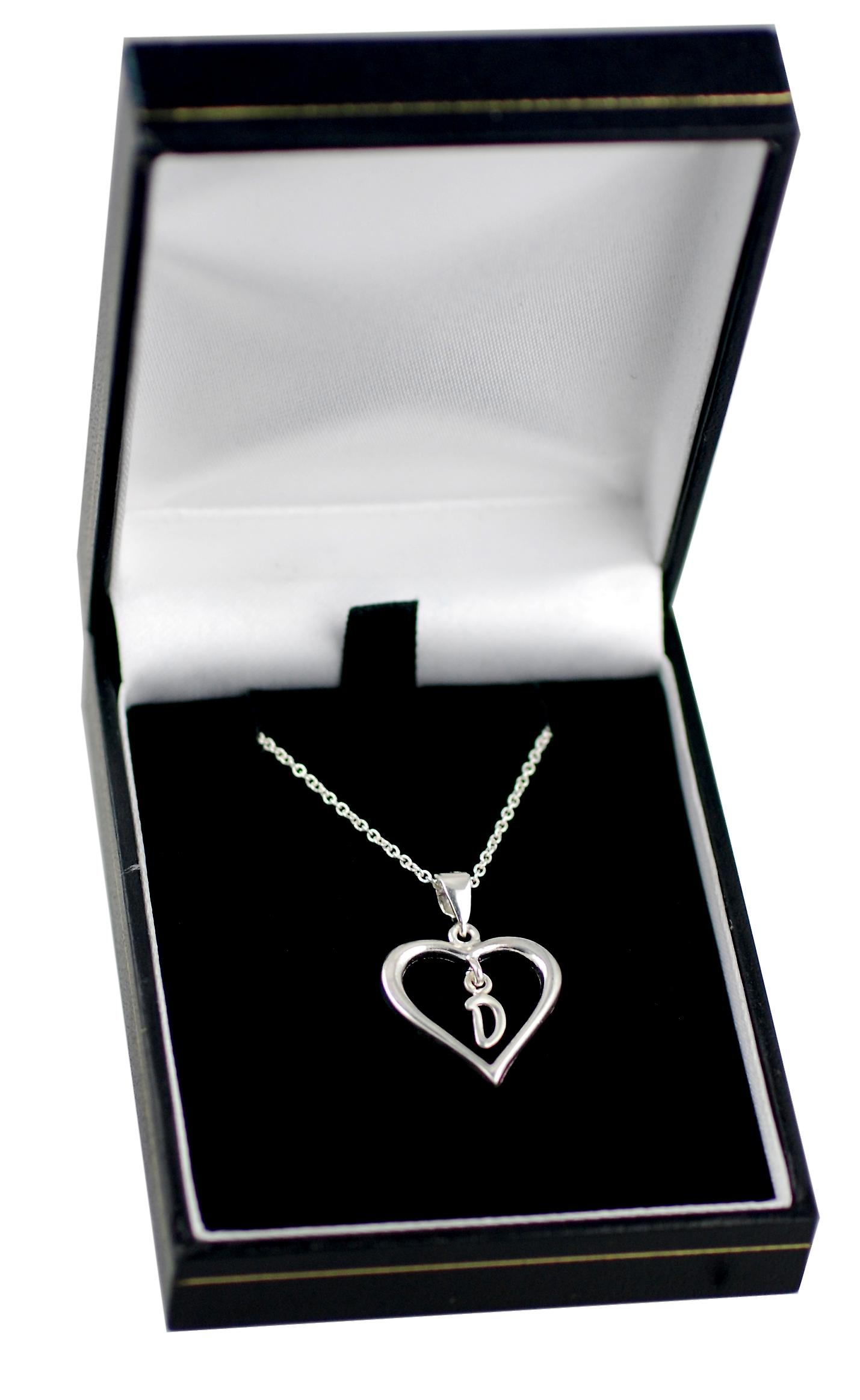 Silver 18x18mm initial D in a heart Pendant with a rolo Chain 16 inches Only Suitable for Children