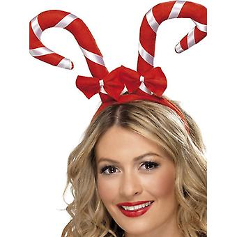Womens Candy Cane Stirnband Weihnachten Fancy Dress Zubehör