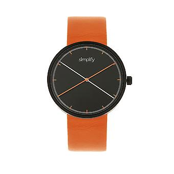 Simplify The 4100 Leather-Band Watch - Black/Orange