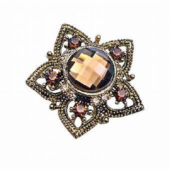 Delikat glitrende kobber blomst røkt Topaz krystaller innebygd brosje