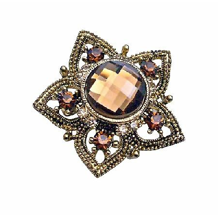 Dainty Sparkling Copper Flower Smoked Topaz Crystals Embedded Brooch