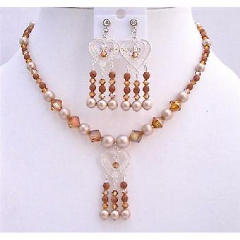 Powder Almond Pearls Set Necklace Sterling Silver Pendant & Earrings