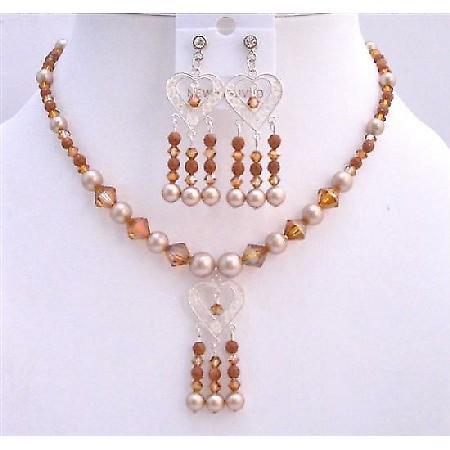 Powder Almond Pearls Set Necklace Sterling Silver Pendant & Earrings