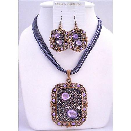 Fabulous Sequare Copper Pendant Jewelry Set & Simulated Crystal Necklace & Earring w/ Multi String Necklace