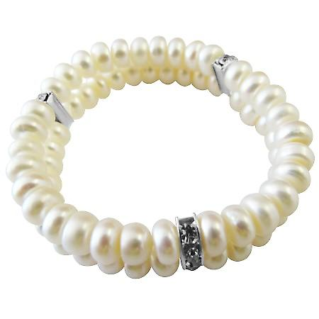 Double Stranded Stretchable Freshwater Pearls Wedding Rondell Bracelet
