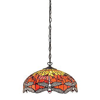 Libellule moyen Tiffany Style flamme trois plafond lumineux pendentif - Interiors 64081 1900