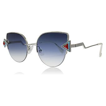 Fendi FF0242/S SCB Silver Blue FF0242/S Cats Eyes Sunglasses Lens Category 3 Size 52mm