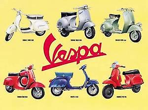 Vespa Scooter Montage metal sign