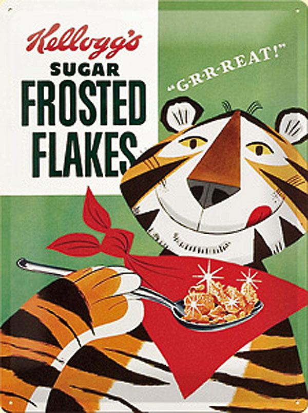 Kelloggs Frosted Flakes Packet large embossed steel sign      3040na
