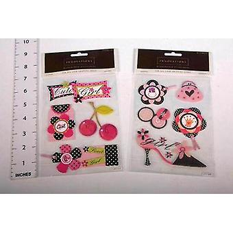 Art-Craft Pink/Black Craft Stickers - Girls Shoes Flowers - 4 Sheets Of Stickers