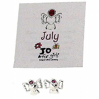 Jo For Girls Sterling Silver July Birthstone Angel Ruby Colour Stud Earrings