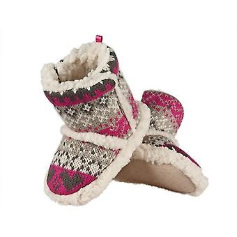 Infant Girls Sherpa Fleece Fair Isle Slipper Booties: Plum