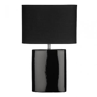 Premier Home Ellipse tafel lamp, keramiek, stof, zwart
