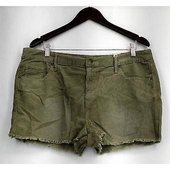 Mossimo Pantalones Cortos De Alto Rise Pana con Bolsillos Verdes Mujeres