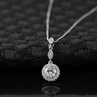18K Gold Plated Cubic Zirconia White Moon Pendant