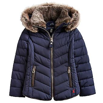 Joules Girls Gosling Fur Trim Quilted Hooded Cosy Warm Coat