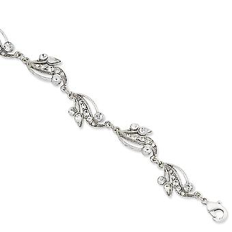 Silver-tone Fancy Lobster Closure Crystal 7inch With Ext Bracelet