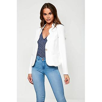 iClothing Annie Scallop Edge Cropped Blazer In White-16