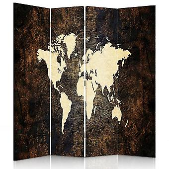 Room Divider, 4 Panels, Double-Sided, 360 ° Rotatable, Canvas, Map Of The World 2