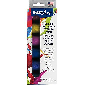 Handy Art Tempera Washable Paint Kit .75oz 6/Pkg-Glitter 882-330J
