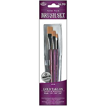 Brush Set waarde Pack Gold Taklon 3 Pkg glazuur Wash 1 4