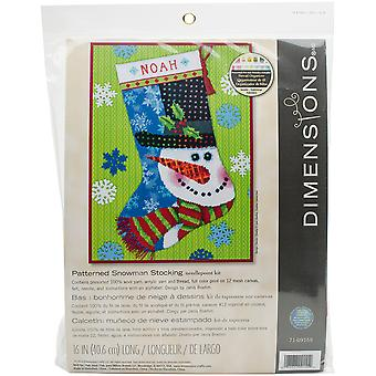 Patterned Snowman Stocking Needlepoint Kit-16