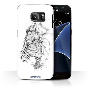 STUFF4 Case/Cover for Samsung Galaxy S7/G930/Lion/Sketch Drawing