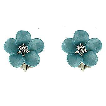 Clip On Earrings Store Petite Silver Plated Matt Blue Daisy Flower Clip on Earrings