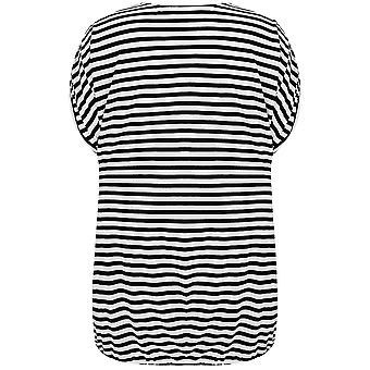 Black & White Stripe V Neck Top With Bubble Hem