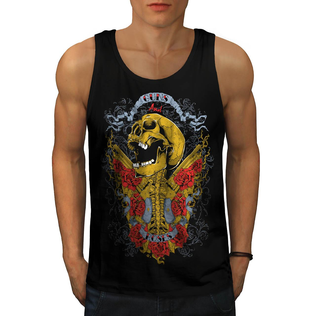 Guns And Roses Skull Music Hero Men Black Tank Top | Wellcoda