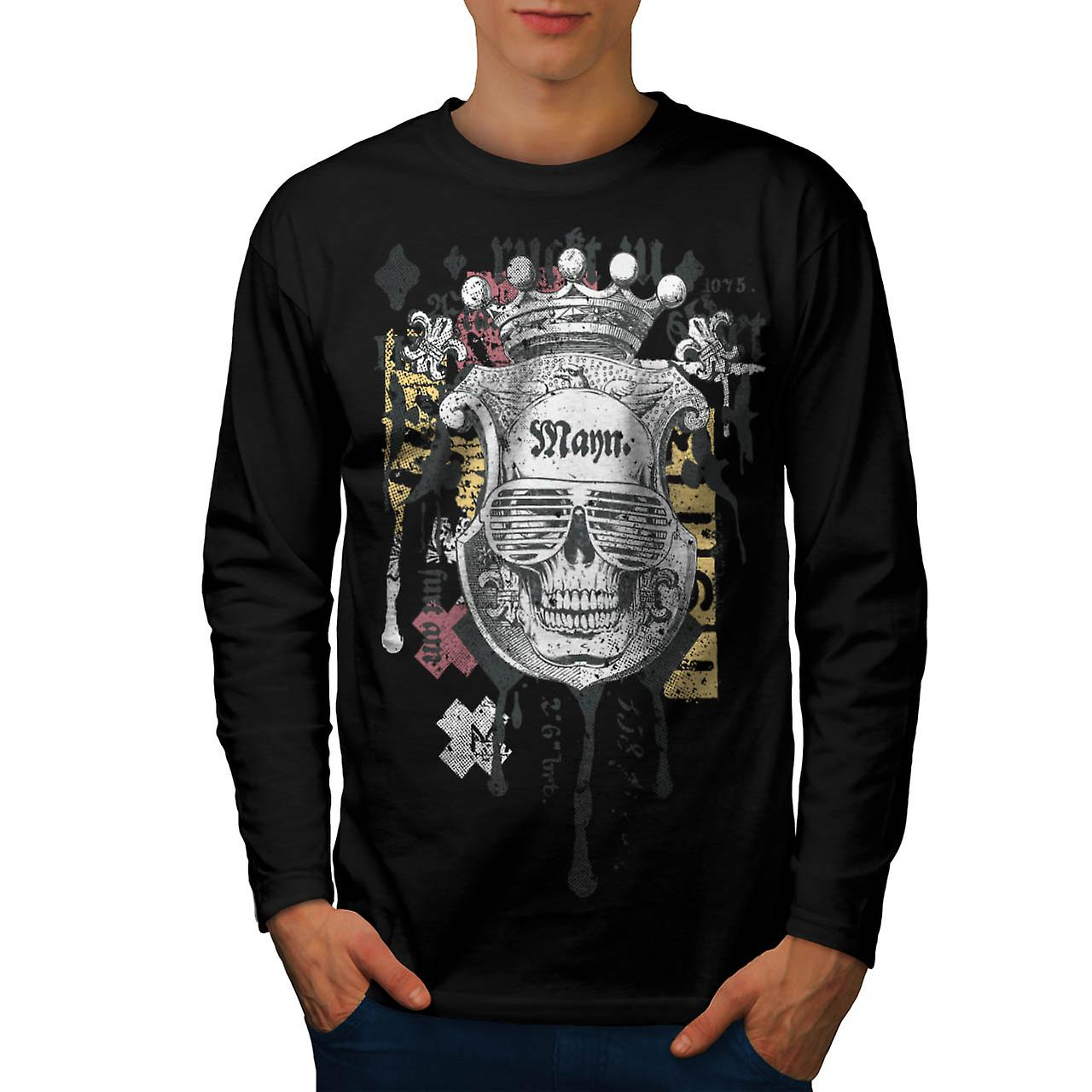 Man Royal Skull Team Swag Head Men Black Long Sleeve T-shirt | Wellcoda