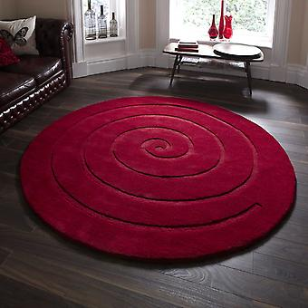 Spiral Circular Wool Rugs In Red