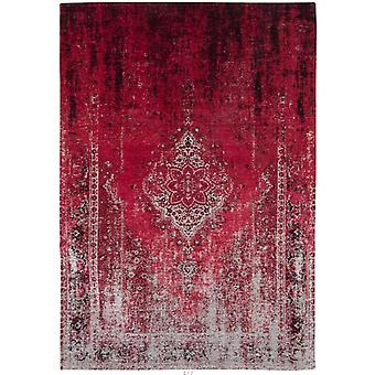 Distressed Raspberry Cream Medallion Flatweave Rug 140 x 200 - Louis de Poortere