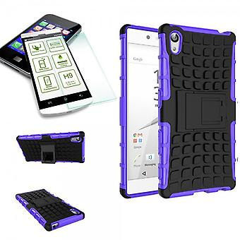 Hybrid case of 2 piece purple for Sony Xperia Z5 Premium 5.5 + bulletproof glass