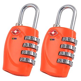 2 x TRIXES 4-Dial TSA Combination Padlock for Luggage Suitcases and Travel (Orange)
