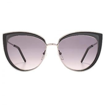 Karl Lagerfeld Metal Cateye Sunglasses In Shiny Gunmetal Grey