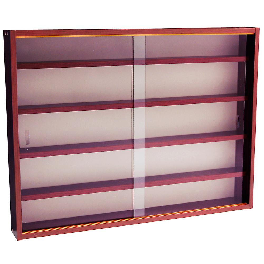 Reveal - 4 Shelf Glass Wall Collectors Display Cabinet - Mahogany