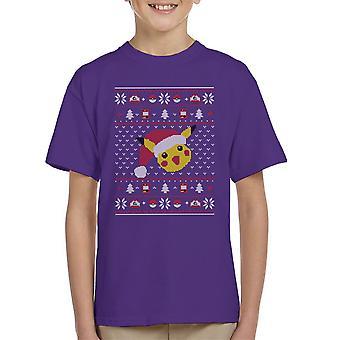 Christmas Pikachu Knit Pattern Pokemon Kid's T-Shirt