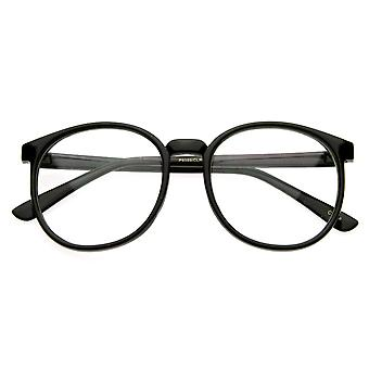 Vintage inspireret runde cirkel briller klar linse Horn kantede P-3 briller